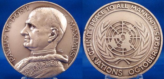 Paul VI 1965, October U.N. Visit Medal 50mm Photo