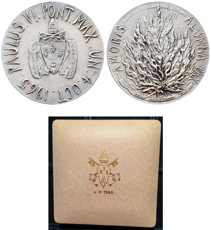 Paul VI 1965 U.N. Visit Official Silver Medal Photo