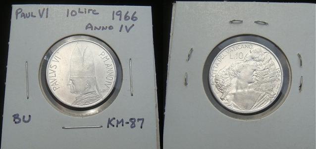 1966 Vatican 10 Lire Coin The Good Shepherd Photo