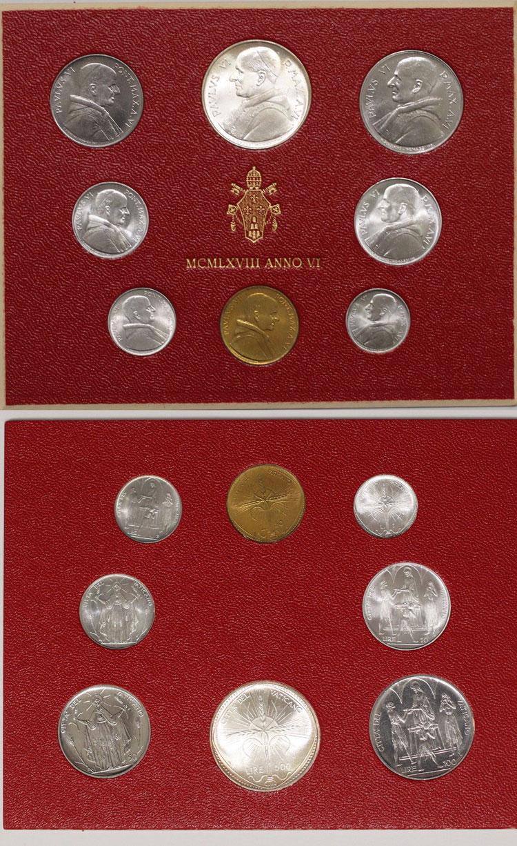 1968 Vatican Coin Set, 8 Coins FAO Photo