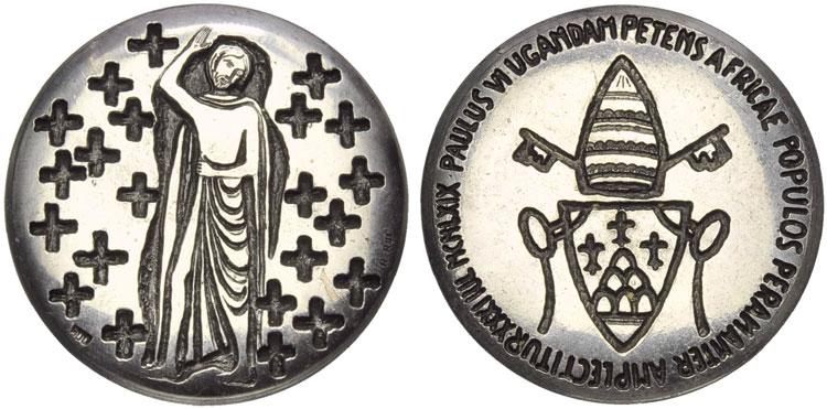 Paul VI 1969 Uganda Martyrs Silver Medal Photo