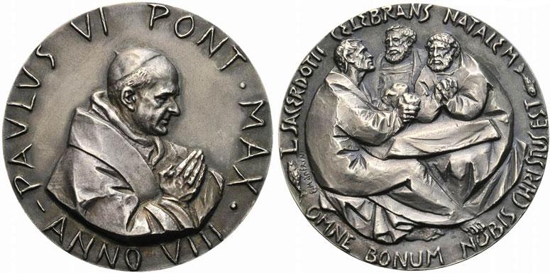 Paul VI (1963-78) Anno VIII Silver Medal Photo