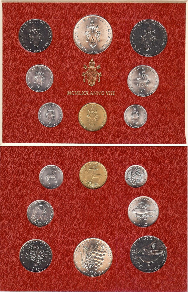 1970 Vatican Mint Set, 8 Coins BU Photo