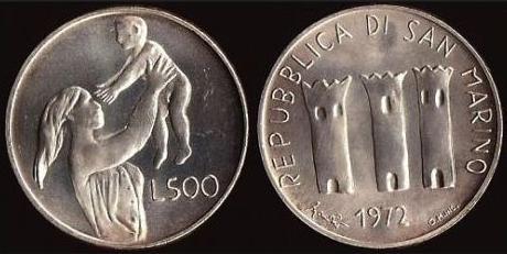 1972 San Marino 500 Lire MOTHERHOOD Coin Photo