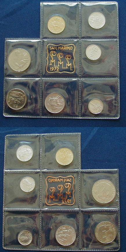 1972 San Marino Mint Set, 7 Coins UNC Photo