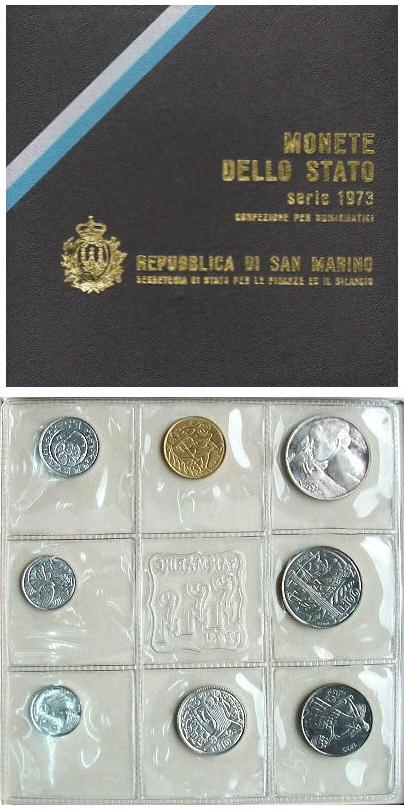 1973 San Marino Mint Set, 8 Coins B/U Photo
