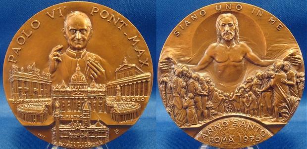 Paul VI 1975 Holy Year Ae Medal 60mm Photo