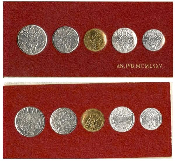 1975 Holy Year Vatican Mini-Set, 5 Coins BU Photo