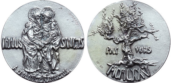 Paul VI Official 1975 Holy Year Silver Medal Photo