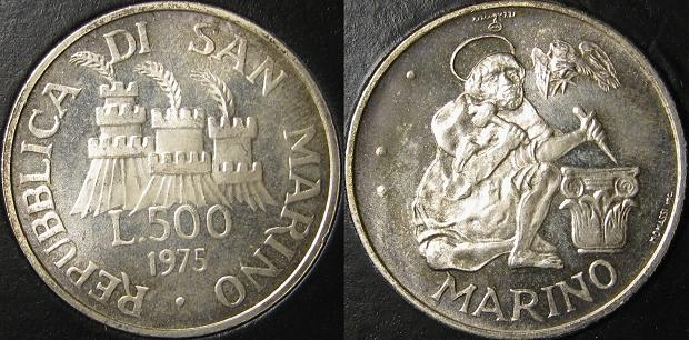 1975 San Marino 500 Lire Silver Coin Photo