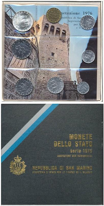 1976 San Marino Mint Coin Set, 8 Coins BU Photo