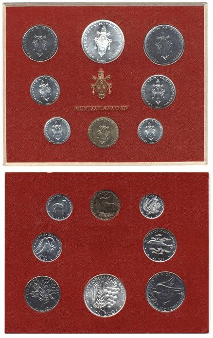 1976 Vatican Mint Coin Set, 8 Coins BU Photo