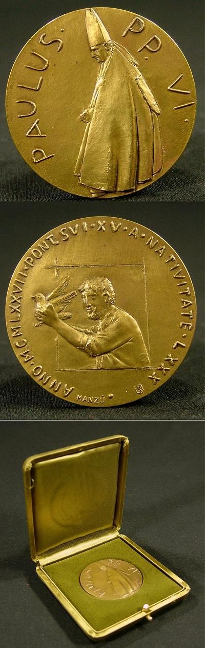 Paul VI 1977 Bronze Medal 80th Birthday Photo