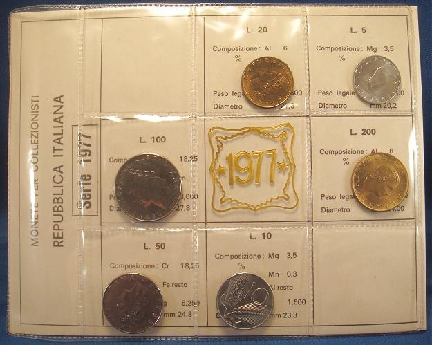 1977 Italy Coin Set, 6 Coins B/U Photo