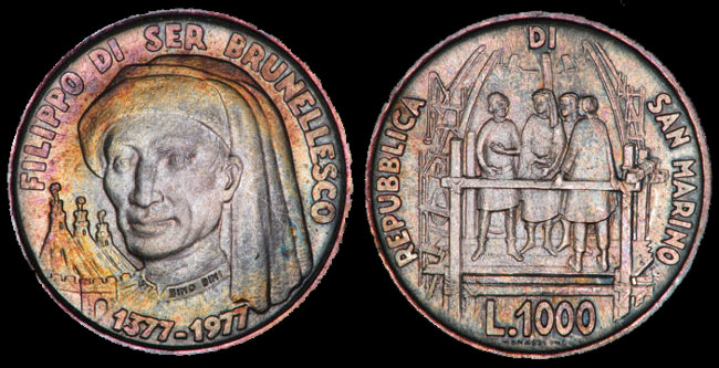 1977 San Marino 1000 Lire Filippo Brunelleschi Photo