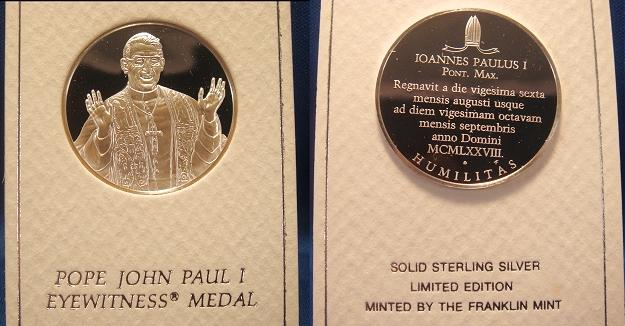 John Paul I 1978 Eyewitness Medal Photo