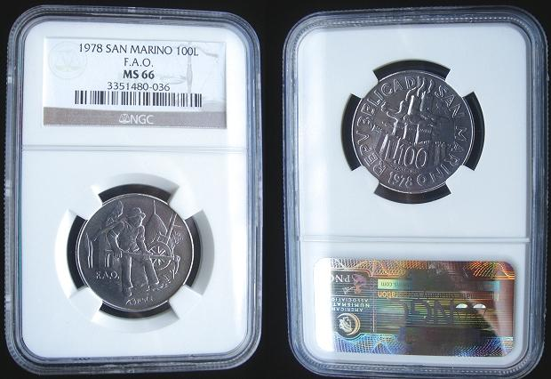 1978 San Marino 100 Lire FAO Coin MS66 Photo