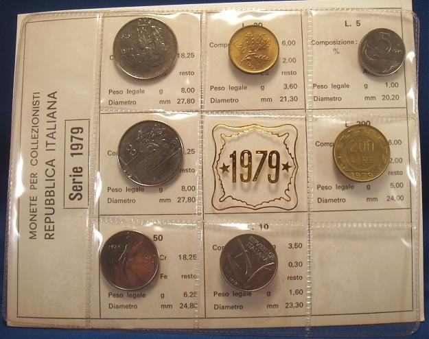1979 Italy Coin Set, 6 Coins B/U Photo