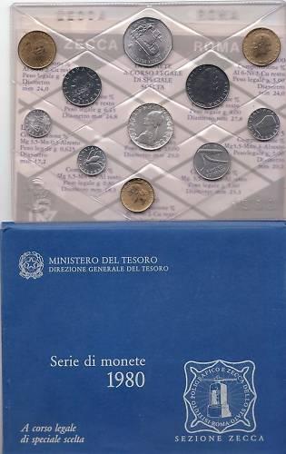 1980 Italy Full Mint Coin Set + Token BU Photo