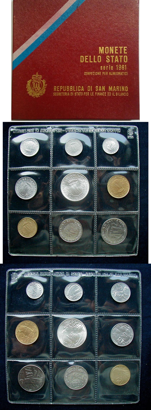 1981 San Marino Mint Coin Set, 9 Coins BU Photo