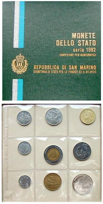 1982 San Marino Mint Coin Set, 9 Coins BU Photo