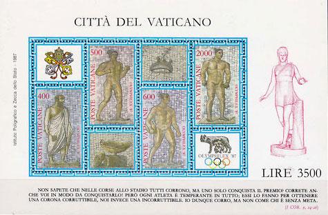1987 Vatican Stamp Sheet Olymphilex '87 Photo