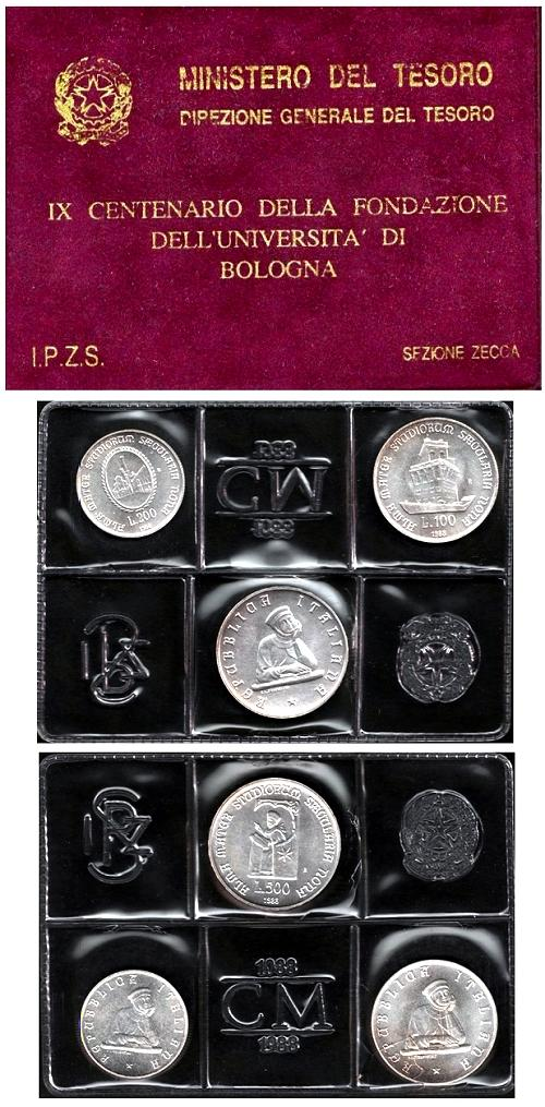 1988 Italy Silver Coin Set Univ. Bologna B/U Photo