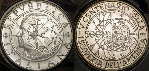 1990 Italy 500L Silver Christopher Columbus Coin Photo