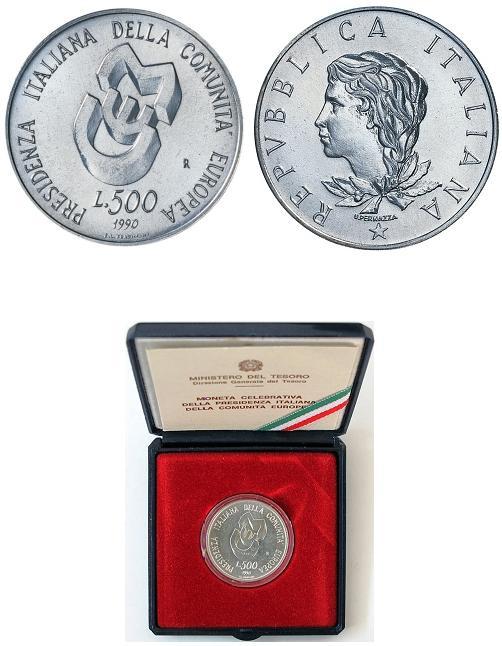 1990 Italy 500 Lire BU Silver UEM Photo