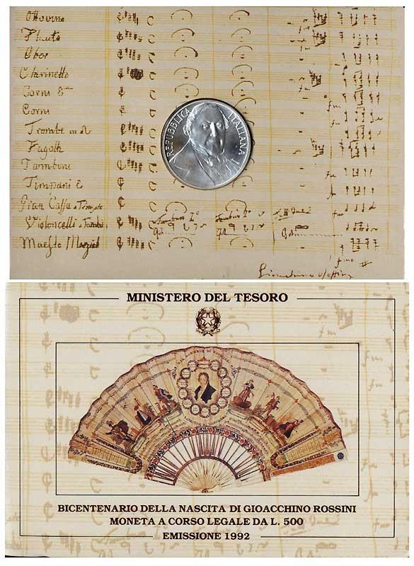 1992 Italy 500 Lire Silver Coin GIOACCHINO ROSSINI Photo