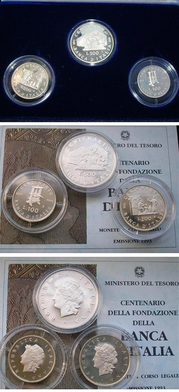 1993 Italy Silver Coin Set Bank of Italy PROOF Photo