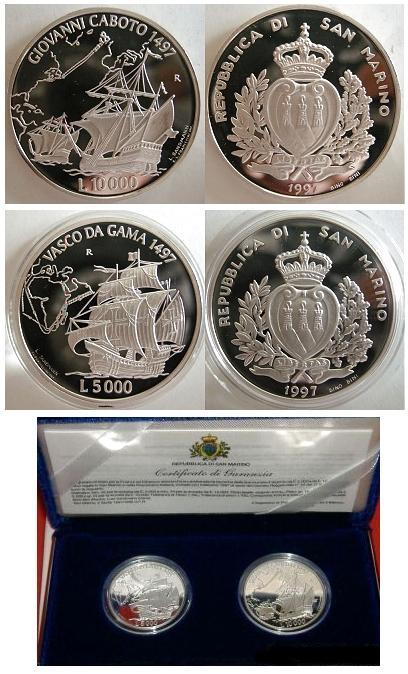1997 San Marino Navigators Cabot & Da Gama Coins Photo