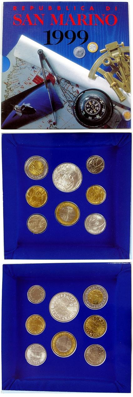 1999 San Marino Mint Set, 8 Coins BU Photo