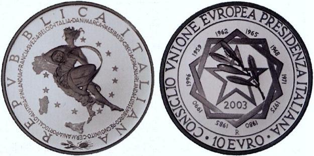 2003 Italy 10 Euro Coin Italian Presidency EU Photo