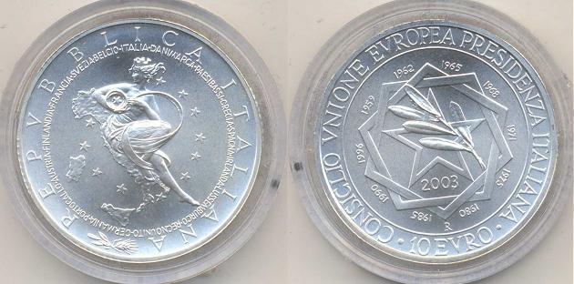 2003 Italy 10 Euro B/U Italian Presidency EU Photo