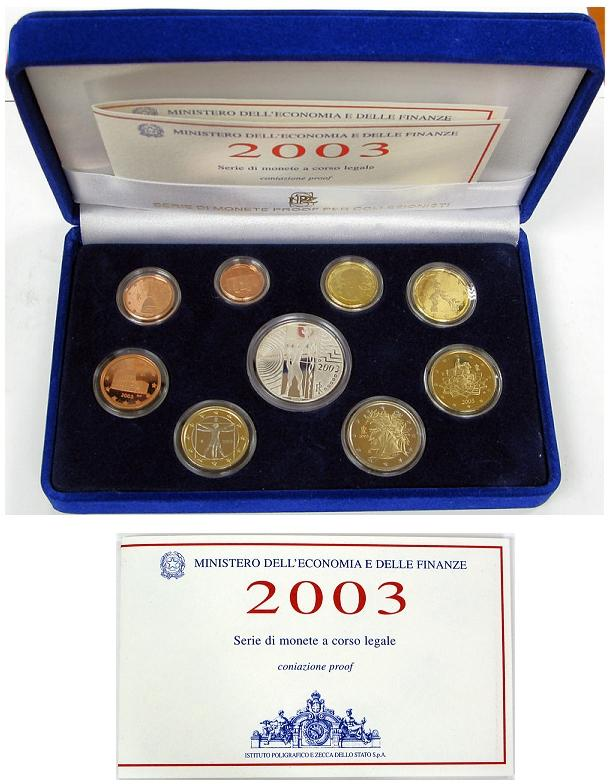 2003 Italy Mint Set with Case, 9 Euro Coins PROOF Photo