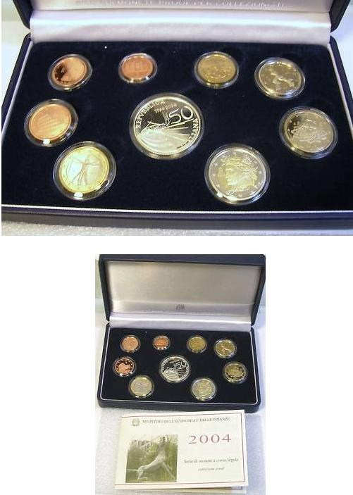 2004 Italy Mint Set with Case, 9 Euro Coins PROOF Photo