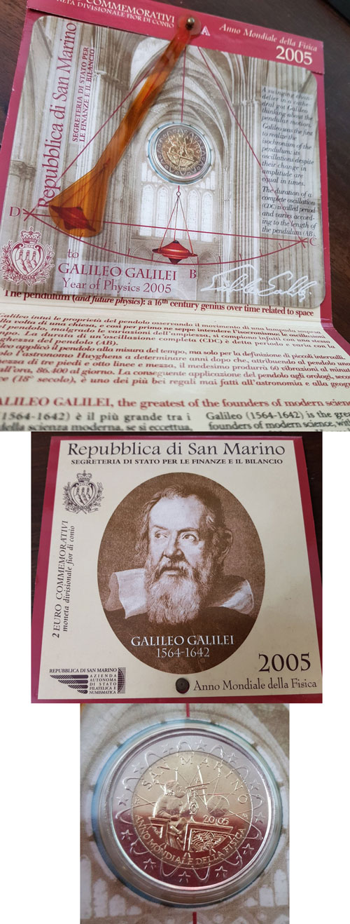 2005 San Marino 2 Euro Bimetal Galileo Photo
