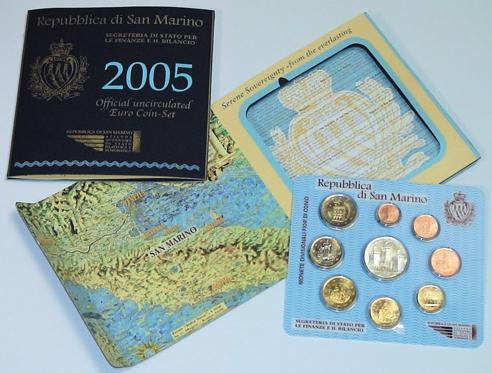 2005 San Marino Mint Set, 9 Euro Coins BU Photo