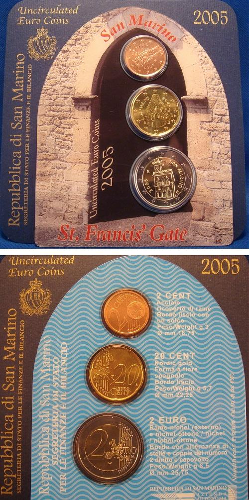 2005 San Marino Mini Coin Set, 3 Euro Coins Photo