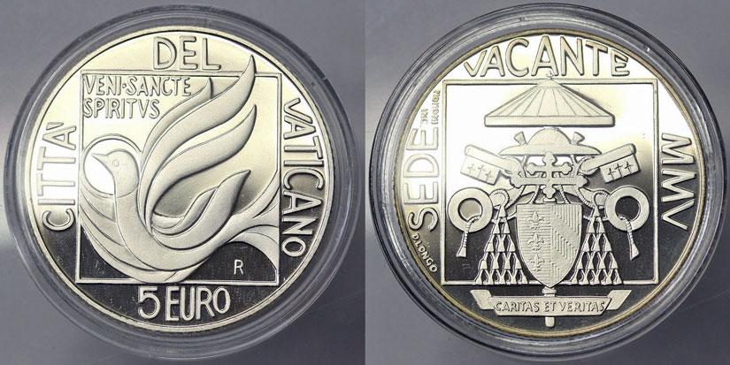2005 Sede Vacante 5 Euro Coin Photo