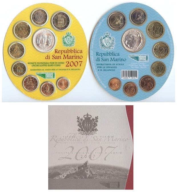 2007 San Marino Mint Set, 9 Euro Coins BU Photo
