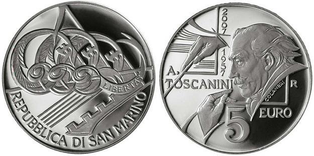 2007 San Marino 5 Euro Arturo Toscanini Coin Photo