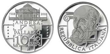 2008 Italy 10 Euro Andrea Palladio Coin Photo