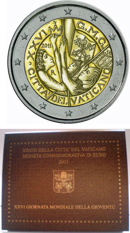 2011 Vatican 2 Euro World Youth Day Coin Photo