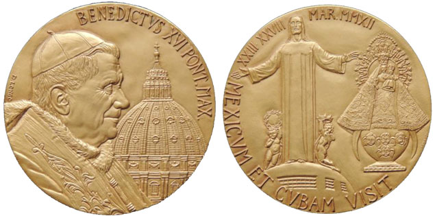 Benedict XVI 2012 Mexico and Cuba Trip Medal Photo