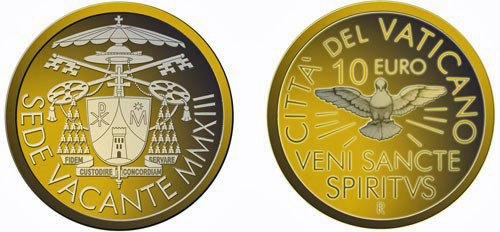 2013 Sede Vacante 10 Euro Gold Coin Photo