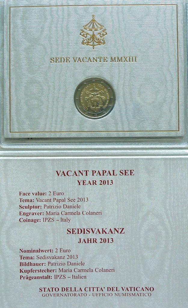 2013 Vatican 2 Euro Sede Vacante Coin Photo
