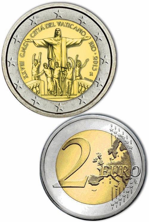 2013 Vatican 2 Euro Bimetal WYD Rio de Janeiro Photo