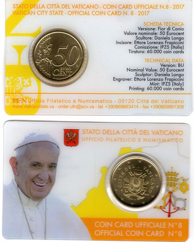 2017 Vatican Coin Card of Pope Francis Photo